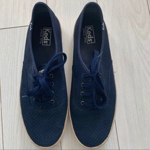 Keds navy blue suede perforated lace up- SZ 9.5